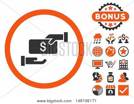 Bribe icon with bonus symbols. Vector illustration style is flat iconic bicolor symbols, orange and gray colors, white background.