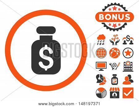 Business Remedy icon with bonus images. Vector illustration style is flat iconic bicolor symbols, orange and gray colors, white background.