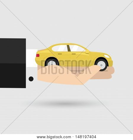 Yellow car in businessman hand. vector illustration