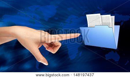 a woman hand choice a folder on a computer screen