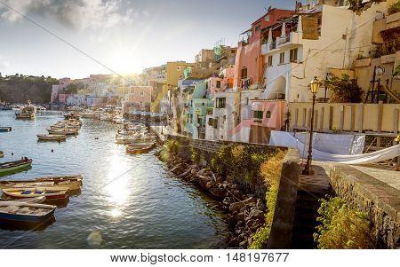 Panorama of Corricella village on Procida island Campania Italy