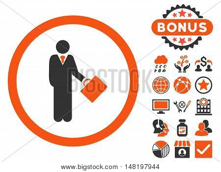 Businessman icon with bonus pictogram. Vector illustration style is flat iconic bicolor symbols, orange and gray colors, white background.