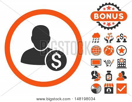 Businessman icon with bonus pictures. Vector illustration style is flat iconic bicolor symbols, orange and gray colors, white background.