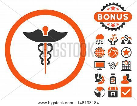 Caduceus icon with bonus elements. Vector illustration style is flat iconic bicolor symbols, orange and gray colors, white background.