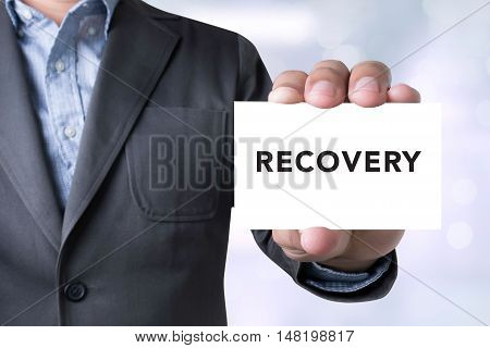 Businessman Message Word Recovery On Card
