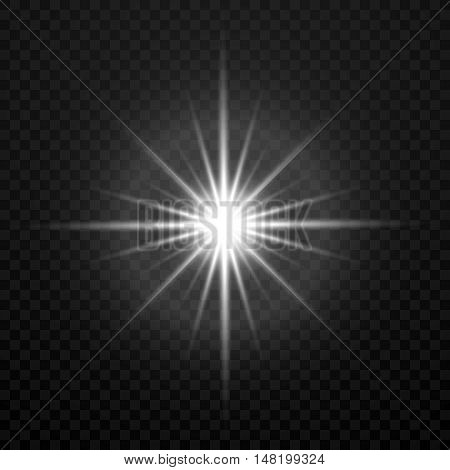 Vector white glowing transparent brightly light star burst explosion isolated on transparent plaid backdrop. Light glitter star illustration