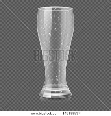Empty beer glass cup isolated on transparent checkered background vector illustration. Transparent mug for beverage and water