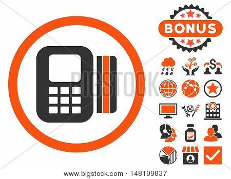 Card Processor icon with bonus design elements. Vector illustration style is flat iconic bicolor symbols, orange and gray colors, white background.