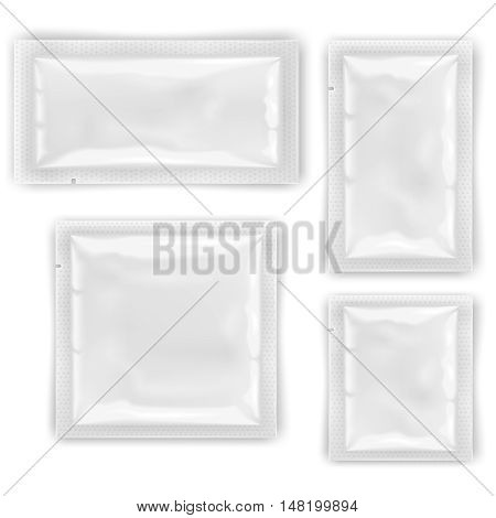 White empty foil, plastic packaging for cosmetics and food vector templates, design mockups sealed package for wipes or condom illustration