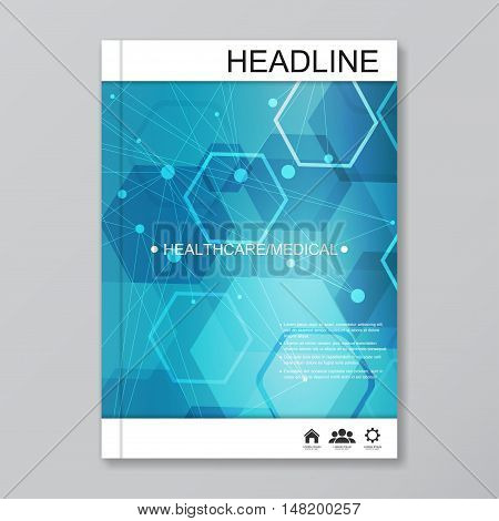 Science vector background. Modern vector templates for brochure, flyer, cover magazine or report in A4 size. Molecule structure and communication on the background..