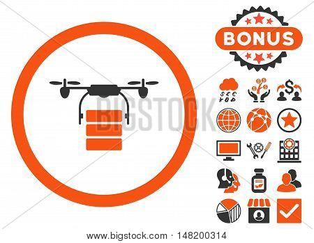 Cargo Drone icon with bonus symbols. Vector illustration style is flat iconic bicolor symbols, orange and gray colors, white background.