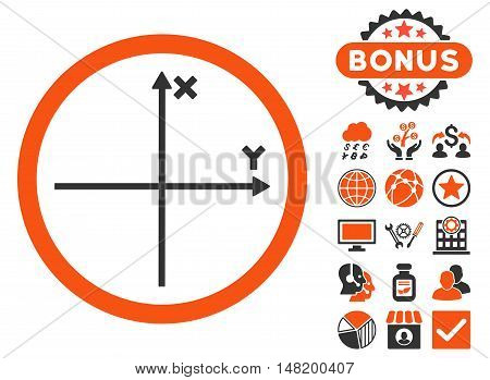 Cartesian Axis icon with bonus pictures. Vector illustration style is flat iconic bicolor symbols, orange and gray colors, white background.