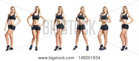 Fit, healthy and sporty woman in sportswear isolated on white. Set collection.
