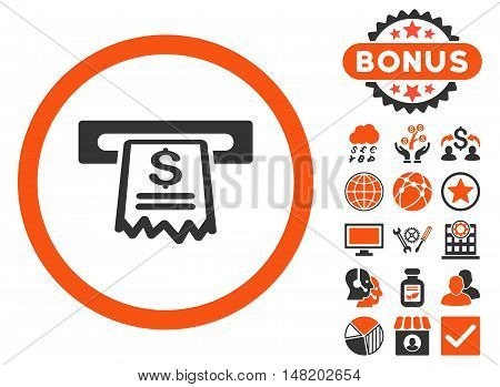 Cashier Receipt icon with bonus symbols. Vector illustration style is flat iconic bicolor symbols, orange and gray colors, white background.