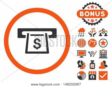 Cashout Slot icon with bonus symbols. Vector illustration style is flat iconic bicolor symbols, orange and gray colors, white background.