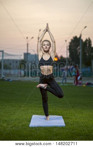 Slender blonde woman practicing yoga outdoors. Tree Pose.