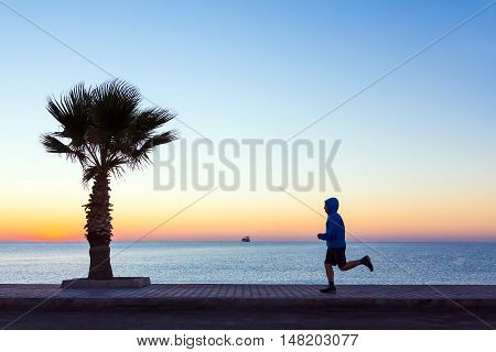 Young Man jogging on Seafront making Morning Fitness Tropical Palm Tree colorful Sunrise blue Sea