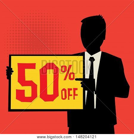 Man showing board business concept with text 50 percent off vector illustration