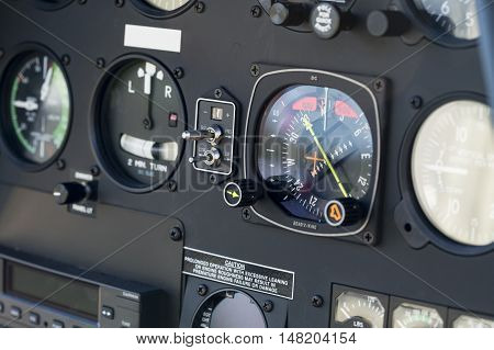 The dashboard panel in a helicopter cockpit, detail