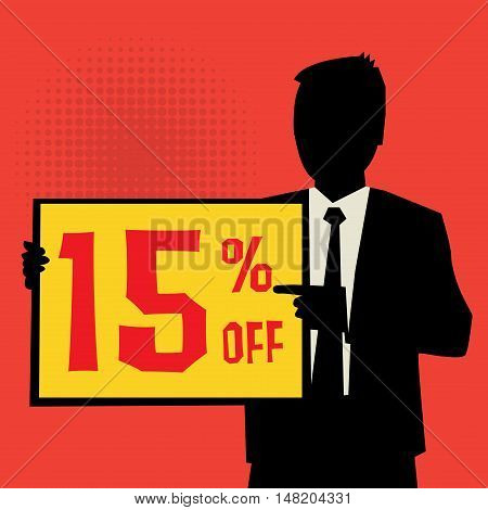 Man showing board business concept with text 15 percent off vector illustration