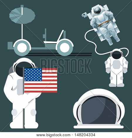Digital vector silver and white astronauts icon set with cosmonaut and usa flag and helmet over dark background, flat style.
