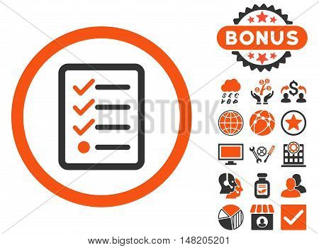 Checklist icon with bonus images. Vector illustration style is flat iconic bicolor symbols, orange and gray colors, white background.