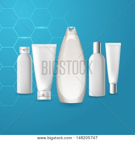 Realistic cosmetic bottle tube mock up set