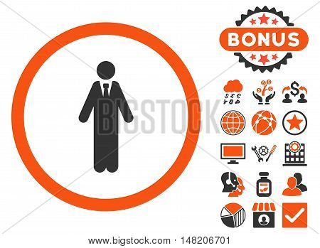Clerk icon with bonus elements. Vector illustration style is flat iconic bicolor symbols, orange and gray colors, white background.