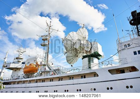 Research Ship With Antenna And Radar