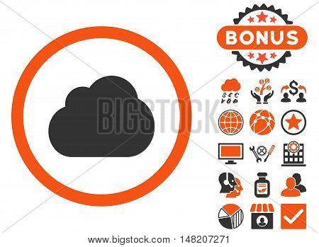 Cloud icon with bonus design elements. Vector illustration style is flat iconic bicolor symbols, orange and gray colors, white background.