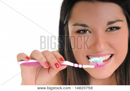 dental care concept with beautiful smilling young  woman and tooth brush