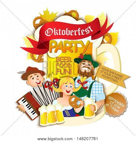 Oktoberfest party flyer on white background. Girl and two men with beer. Vector flat cartoon illustration