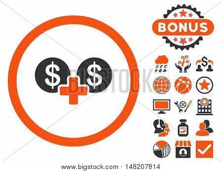 Coins Sum icon with bonus elements. Vector illustration style is flat iconic bicolor symbols, orange and gray colors, white background.