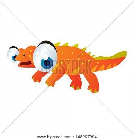 vector cartoon comic illustration of ancient reptiles. Water dinosaurs. Plesiosaurus