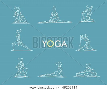 Vector set polygonal illustration of yoga poses. Women doing yoga exercises. Eight different asanas, low poly style, modern icons