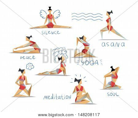 Vector set polygonal illustration of yoga poses. Women doing yoga exercises. Eight different asanas, low poly style
