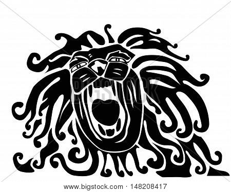 Roaring lion.Lion head. Monochromatic logo for your t-shirt. Vector.