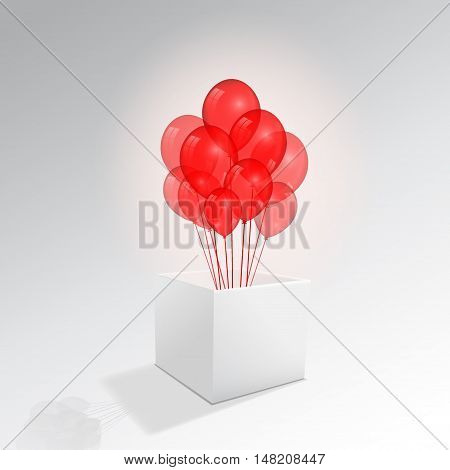 Open Cardboard Box with Transparent Birthday Balloons