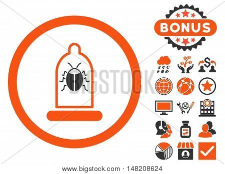 Condom Bug icon with bonus pictures. Vector illustration style is flat iconic bicolor symbols, orange and gray colors, white background.