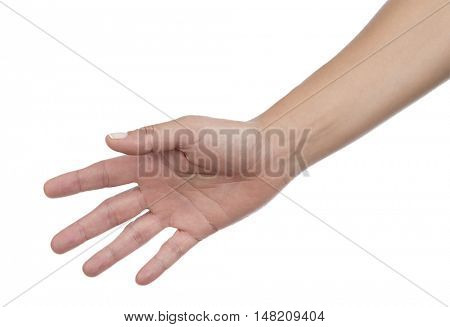 Female hand reaching out for a handshake isolated on white background.