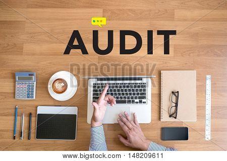 Businessman Working Single Word Audit