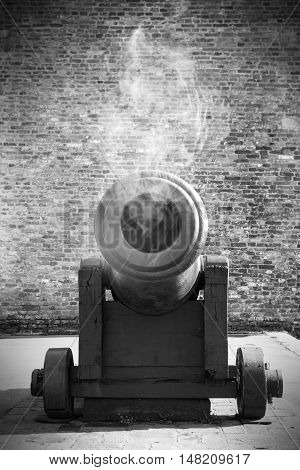 Vintage Cannon Resting Outdoors