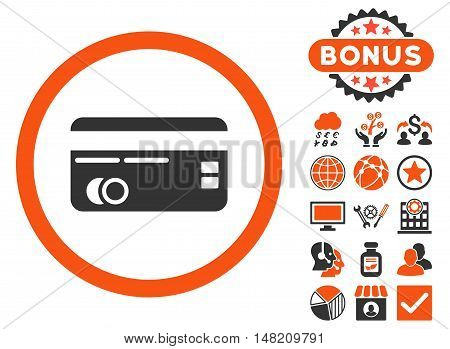 Credit Card icon with bonus elements. Vector illustration style is flat iconic bicolor symbols, orange and gray colors, white background.