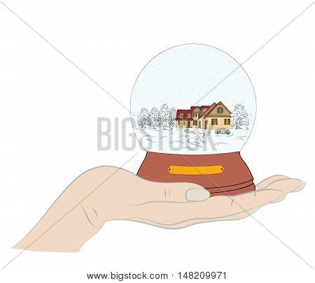 snowball in hand on a white background. Christmas composition. illustration