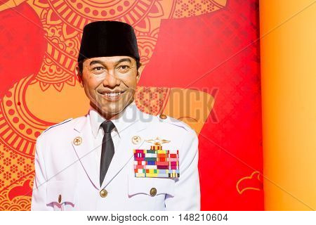 BANGKOK THAILAND - DECEMBER 19: Wax figure of the famous Soekarno from Madame Tussauds on December 19 2015 in Bangkok Thailand