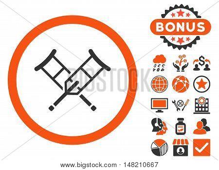Crutches icon with bonus symbols. Vector illustration style is flat iconic bicolor symbols, orange and gray colors, white background.