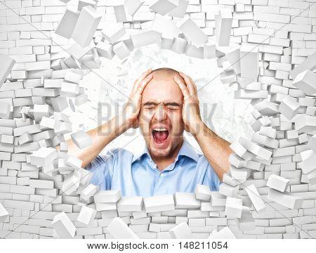 desperate man and broken brick wall 3d