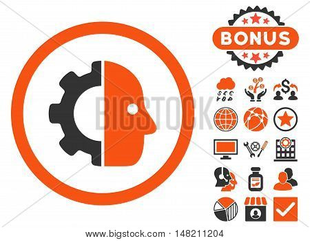 Cyborg icon with bonus pictures. Vector illustration style is flat iconic bicolor symbols, orange and gray colors, white background.
