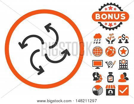 Cyclone Arrows icon with bonus pictogram. Vector illustration style is flat iconic bicolor symbols, orange and gray colors, white background.