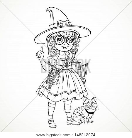 Girl nerd wearing glasses and a suit witch tells something at her feet sits a cat outline for coloring